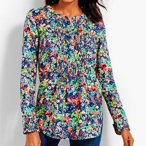 TALBOTS NWT cotton floral popover Pintucked blouse